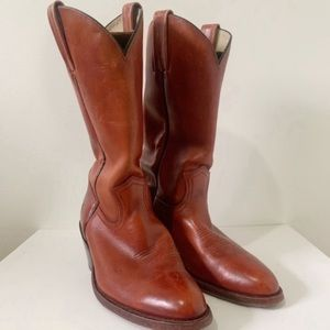 Frye Leather Pull On Boots Cognac Red Size 9D